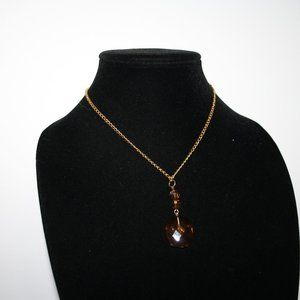 """Vintagejelyfish Jewelry - Pretty gold and brown necklace 16"""""""